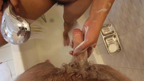 Eager and shy Filipina babe cleans tourist's cock before giving head