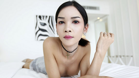 21yo busty Thai shemale gets fucked in her ass by big white tourists cock