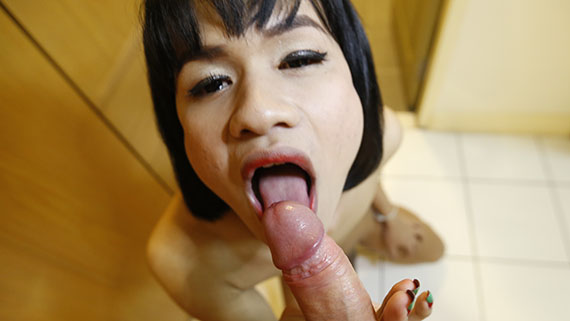 19yo Thai ladyboy gets a facial from a big white dick after sucking his cock