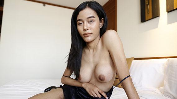 20yo busty Thai ladyboy does a striptease for white tourist