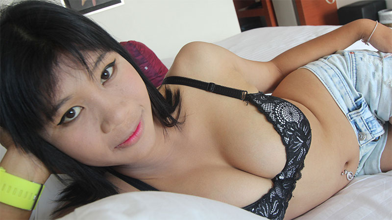 Stunning Thai babe with big puffy tits gets a creampie surprise