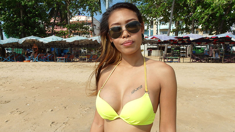 Hot Asian bikini babe goes from basking in the sun to riding stranger at his hotel